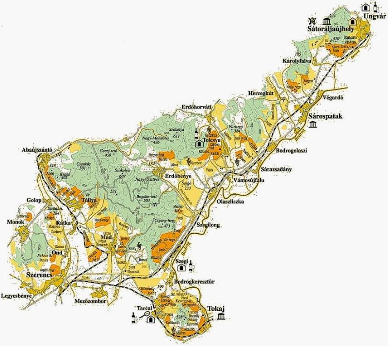 Tokaj és környéke térkép